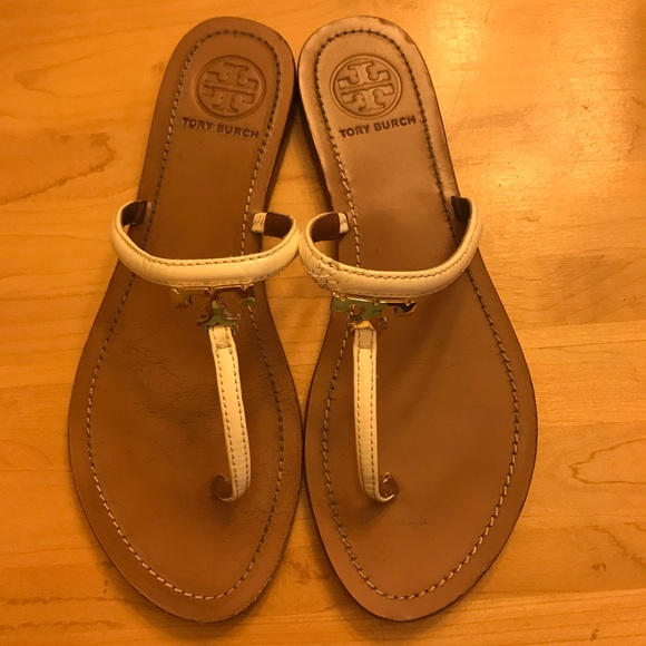 Tory Burch White Tstrap Sandals